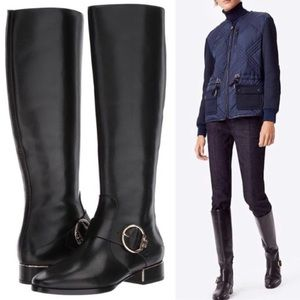 Tory Burch Sofia Riding Boot Leather Black 6.5 New